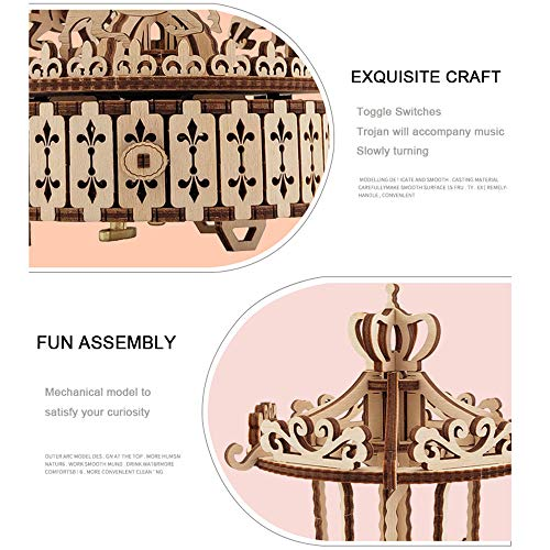 QPP-PT 3D Wooden Puzzle Carousel Music Box Hand-Assembled DIY Mechanical Transmission Model Children's Educational Toys Birthday Gift