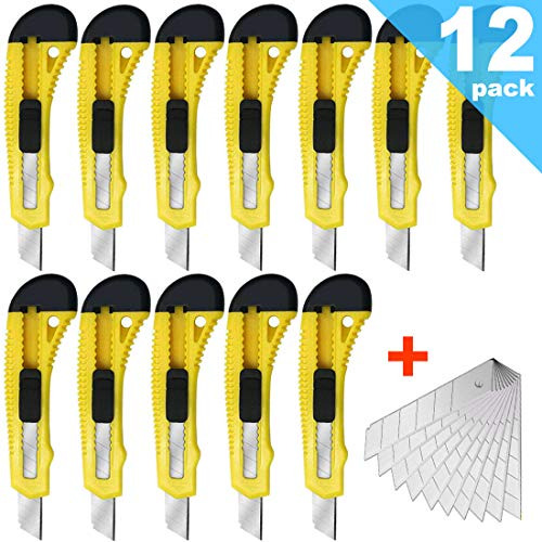 12Pack Utility Knife Box Cutters (18mm Wide Blade Cutter) with 10 PCS Extra Snap Off Blades 18mm - Retractable, Compact, Extended Use for Heavy Duty Office, Home, Arts Crafts, Hobby