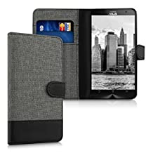 kwmobile Wallet case canvas cover for Asus ZenFone 2 - Flip case with card slot and stand in grey black