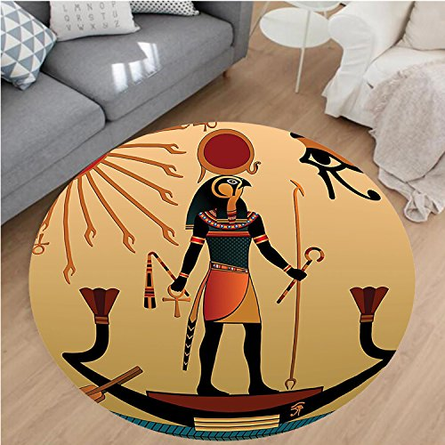 Nalahome Modern Flannel Microfiber Non-Slip Machine Washable Round Area Rug-ration of Ancient God Sun Ra Old Egyptian Faith Grace Icons Traditional Pagan Print Multi area rugs Home Decor-Round 71'' by Nalahome