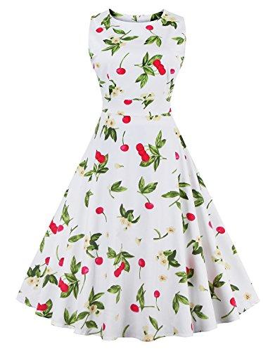 Women's Retro Swing Dresses Vintage Sleeveless Dresses for Party Cherry White