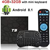 Android TV Box, HAOSIHD T9 Android 8.1 TV Box with Remote Control & Mini Keyboard, 4GB RAM 32GB ROM RK3328 Quad-core, Support 4K Full HD 2.4Ghz WiFi BT 4.0 Smart TV Box