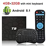 Android TV Box, HAOSIHD T9 Android 8.1 TV Box with Remote Control & Mini Keyboard, 4GB RAM 32GB ROM RK3328 Quad-core, Support 4K Full HD 2.4Ghz WiFi BT 4.1 Smart TV Box