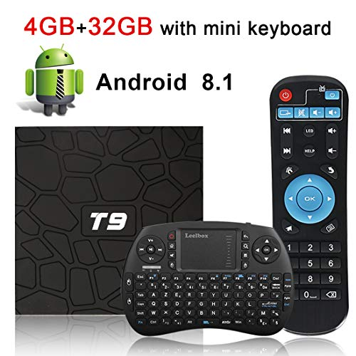 Android TV Box, HAOSIHD T9 Android 8.1 TV Box with Remote Control & Mini Keyboard, 4GB RAM 32GB ROM RK3328 Quad-core, Support 4K Full HD 2.4Ghz WiFi BT 4.1 Smart TV Box (Best 4k Kodi Box)
