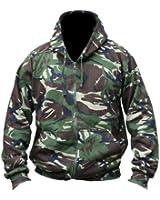 Mens Hooded Full Zip Top Hoodie Military Combat Army DPM Camo Fleece Jacket New