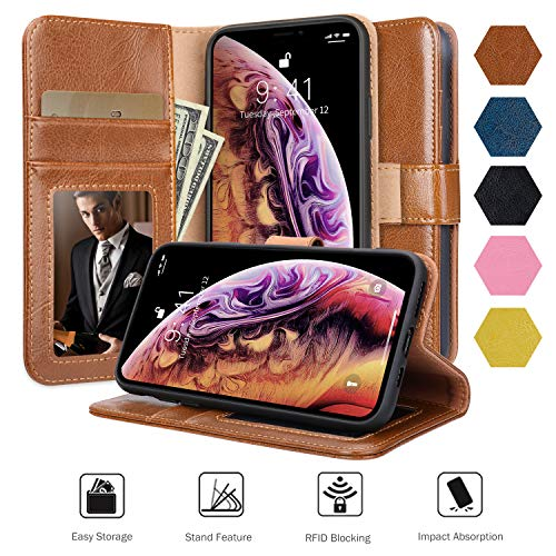 Jisoncase iPhone Xs Wallet Case, iPhone X Wallet Case with Card Holder, Auto Sleep/Wake Leather Wallet Flip Cover with RFID Blocking & Kickstand Magetic Closure, BrownFolio Case Cover for X/XS 5.8