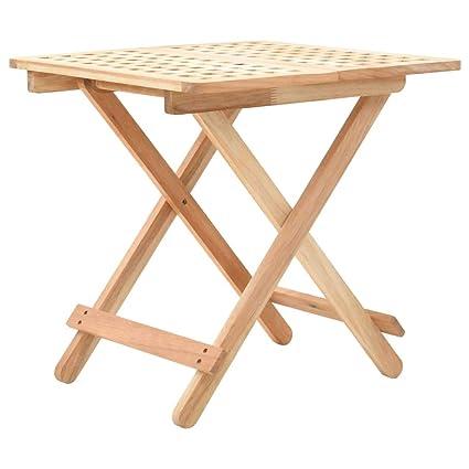 Festnight Table D Appoint Pliante Bois Massif Table D