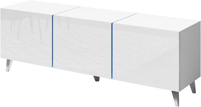 Domtech - Mueble de pared para televisor con iluminación LED, 140 cm, color blanco brillante, armario de pared para juegos, armario de pared moderno para salón ...