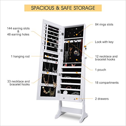 LANGRIA Lockable Jewelry Cabinet Free Standing Jewelry Armoire Organizer Full Length Mirrored, 2 Drawers, 3 Angle Adjustable Organizer Storage for Rings, Earrings, Bracelets, Broaches, White Finish by LANGRIA (Image #4)