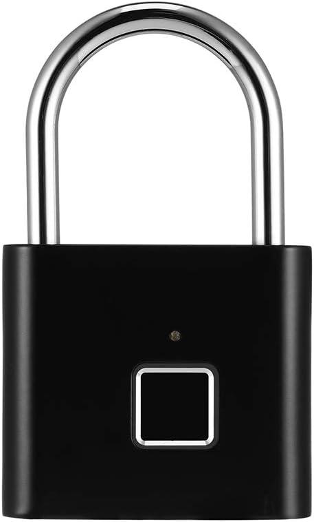 40 Groups Fingerprints Keyless USB Anti-Theft Security Thumbprint Padlock for Gym Locker Luggage Cabinet Suitcase KOqwez33 Smart Biometric Fingerprint Lock