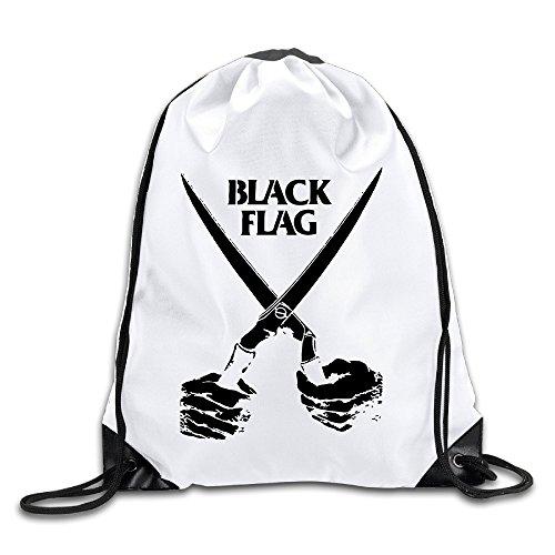 Price comparison product image Unisex Black Flag American Punk Rock Band Hardcore Drawstring Backpack Travel Bag Handbags