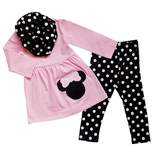 So Sydney Toddler & Girls Minnie Mouse 3 Pc Outfit Tunic Leggings Infinity Scarf (XL (6), Pink & Black Polka (Minnie Outfit)