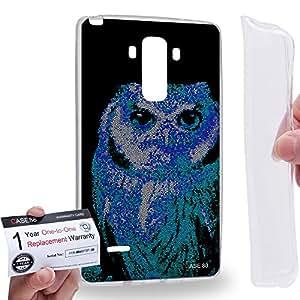 Case88 [LG G4 Stylus] Gel TPU Carcasa/Funda & Tarjeta de garantía - Art Aztec Design Blue Owl Animal Faces Art1281