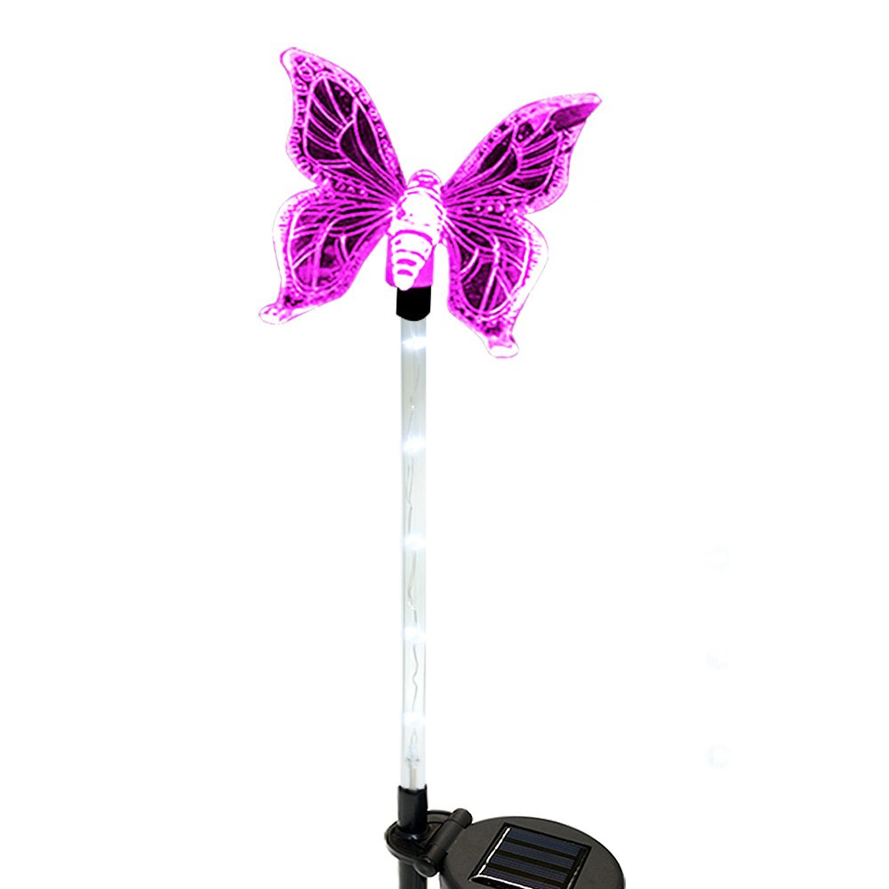 Solar Lights, Solarmks 2nd Generation Solar Powered Outdoor Multi-color Changing LED Stake Light, with a White LED Light Stake (Butterfly)