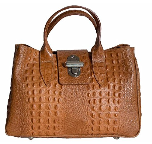 Made Large Vera in Coccodrillo Pelle Bauletto cognac stampa Donna modello in Italy Borsa SUPERFLYBAGS Milena vw4qacPSa