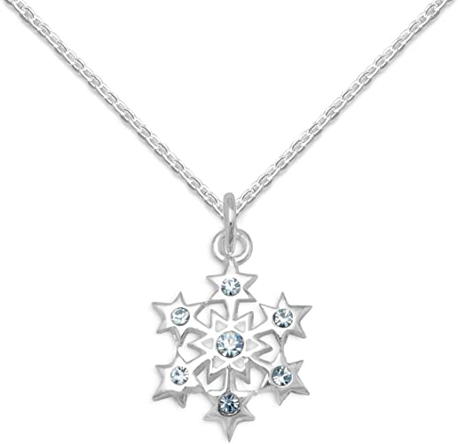 Small Sterling Silver Snowflake Charm with Tiny Blue Crystal
