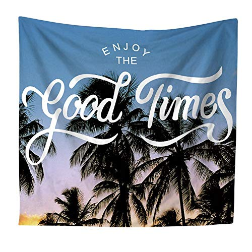 Coastal Decor - Tapestry Green Leaves Est Coastal Natural Coconut Tree Polyester Wall Home Bedroom Decor - Lighting Room Placemats Table Collection Glass Lights Blue Teal Coastal Woven Clock Too (Est Lighting Outdoor)