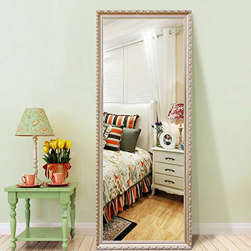 PexFix Full Length Mirror Standing Dressing Mirror Pattern Framed Floor Mirror Bedroom Leaner Mirror Wall Mounted Mirror 65 x 22 – Champagne