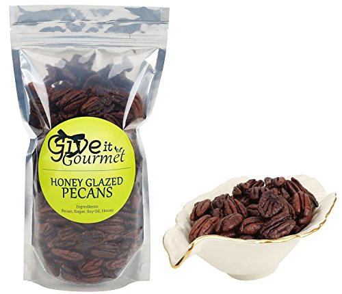 Crunchy Honey Glazed Pecans (16 Ounces) with Resealable Closure - Natural, Fresh and Tasteful Healthy Snack for All Day Long