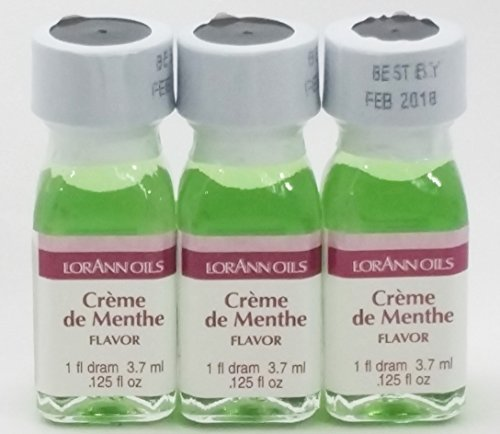 Creme De Menthe Recipe (Lorann Flavoring 3 Pack -1 Fl Dram (.125 Fl Oz) + 2 Recipe Card Bundle (Creme de Menthe) by LorAnn Oils)