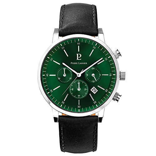 Men's Watch Pierre Lannier - 206G173 - SPIRIT - Chronograph - Date - Quartz - Green Dial - Black Leather Band