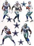Dallas Cowboys Mini FATHEAD Team Set Official NFL Vinyl Wall Graphics (5 Players + 5 Cowboys Logo), EACH PLAYER 7'' INCH TALL