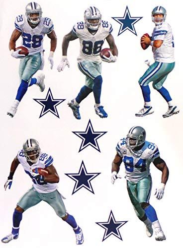 Dallas Cowboys Mini FATHEAD Team Set Official NFL Vinyl Wall Graphics (5 Players + 5 Cowboys Logo), EACH PLAYER 7'' INCH TALL by FATHEAD