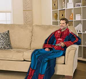 Marvel Spiderman Comfy Throw - Comics Fleece Blanket Sleeves