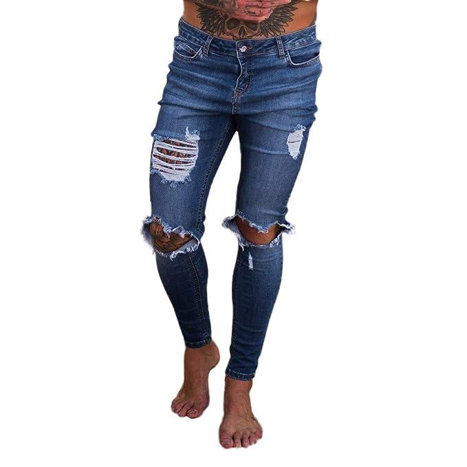 a2f348a2e0 Bestow-pantalones Vaqueros Rotos para Hombre Pantalones Vaqueros con  Cremallera Streetwear Pantalones Black Friday  Amazon.es  Ropa y accesorios