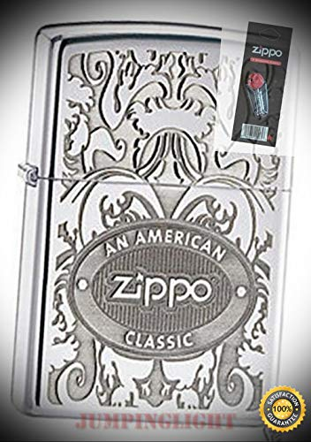 - 24751 American Classic Chrome Lighter with Flint Pack - Premium Lighter Fluid (Comes Unfilled) - Made in USA!