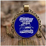 COLOSTORE I'm A Swim Mom Necklaces, Like A Normal Mom Necklaces (Necklace - Antique Brass - Blue)