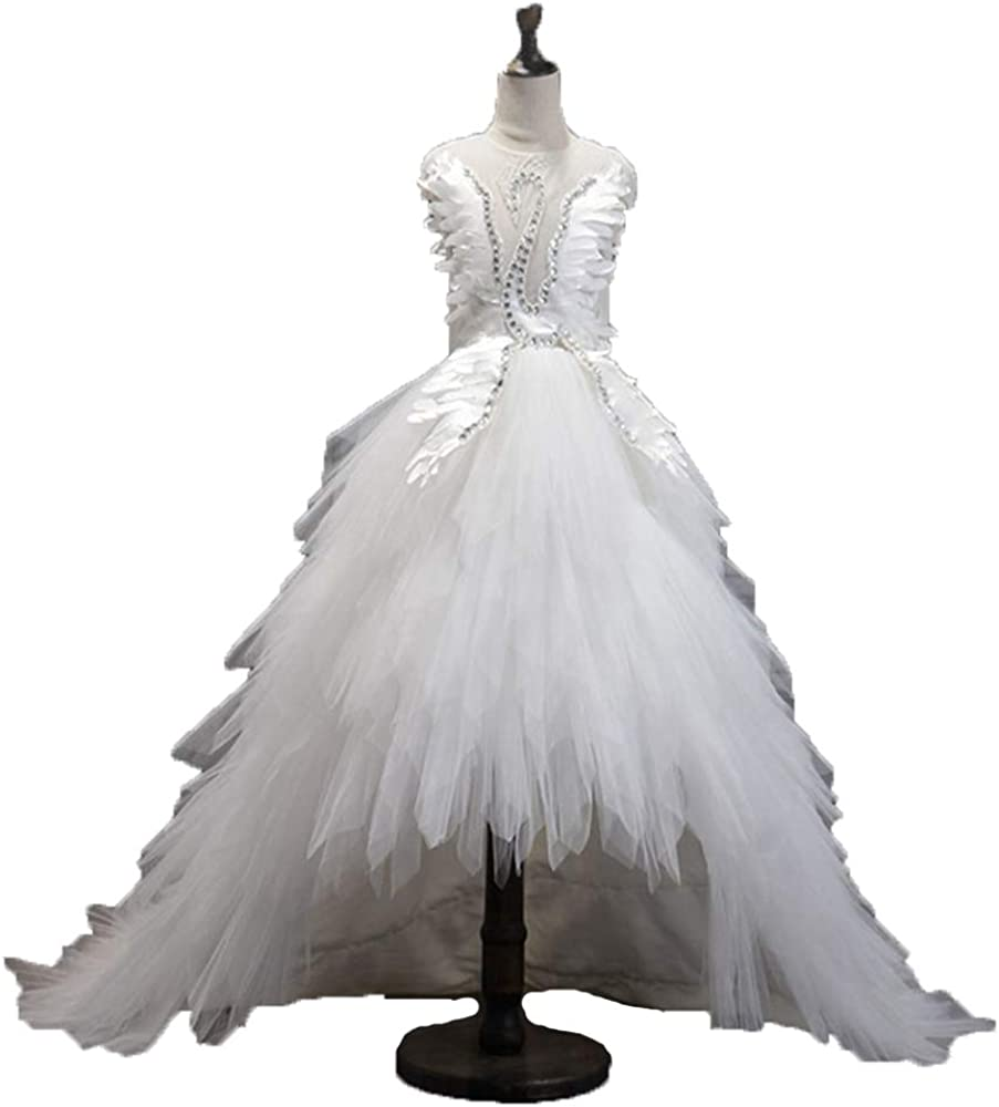 Amazon Com Happy Lemon Ball Gown Flower Girls Dresses For Weddings High Low Evening Party Dress For Girls Kids Formal Prom Dresses Hp149 White Clothing