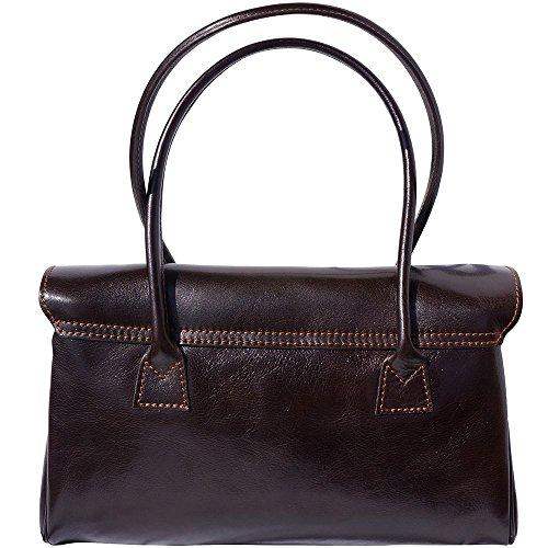 Dark With Handbag Leather 6544 And Lady Shoulderbag 2 Handles Brown Ip8w6qCn