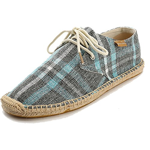 Alexis Leroy Check Canvas Lace up Mens Espadrilles Blue