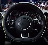 Amuahua D-Shaped Genuine leather Car Steering Wheel Cover Universal 15 inch/38CM Breathable for Auto/Truck/SUV/Van (black yellow Line)