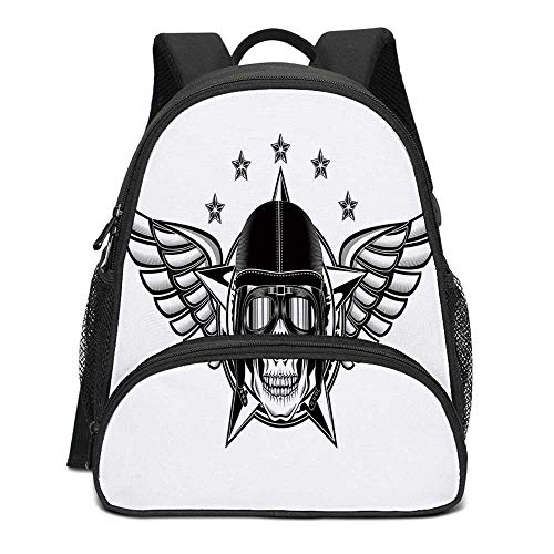 Skull Durable Kids Backpack,Skull Pilot with Eagle Wings and Stars Fast Day of the Dead Bones Print for School Travel,10