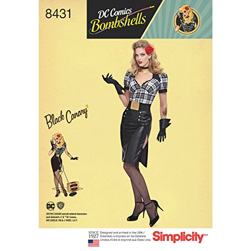 Simplicity Pattern 8431 U5 Misses' DC Comics Bombshell Black Canary Costume Sewing Pattern, Size -