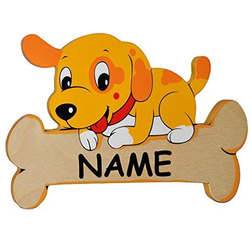 Namensschild / Türschild / Wandbild - aus Holz - Hund mit Knochen incl. Name - Schild selbstklebend - für Kinderzimmer - Tiere für Kinder Tier - Hunde Welpe Welpen - Wandtattoo Bilder Namensschilder/ oder Haustier Hundehütte