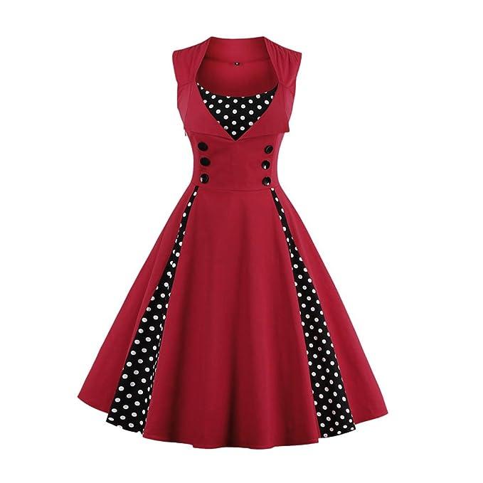 ZAFUL Vintage Mujer Vestido de Fiesta Coctel Retro años 50 sin Mangas Rojo M