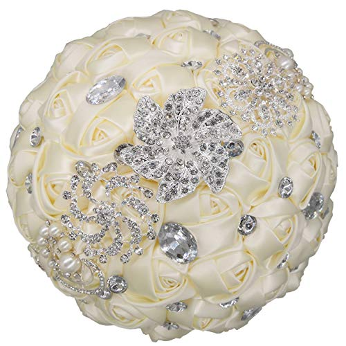 - cn-Knight Wedding Bouquet Bridal Bouquet Handmade Silk Satin Rose Artificial Flower with Sparkling Rhinestone Brooch Crystals Pearl Soft Ribbon for Bride Bridesmaid Church(10''W×11''H,Creamy White)