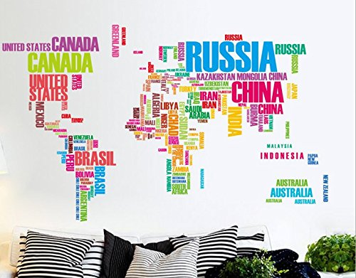 Colorful English Country Name World Map Wall Sticker Wall Decal Wallpaper Wall Decor for Living Room or Setting Room Decoration