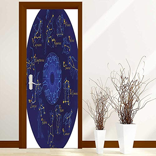 L-QN Creative Door Stickers Bedroom Doors World Shaped Zodiac Icons Chart Celestial Moves Featured Planetary Effects Artwork Blue Indoor and Outdoor use W23.6 x H78.7 inch