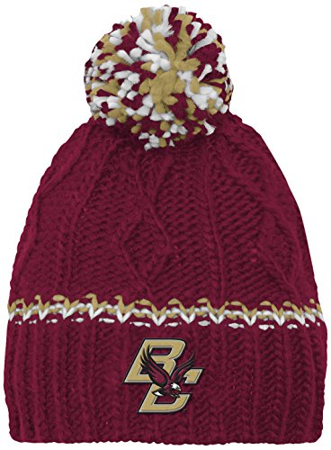 NCAA by Outerstuff NCAA Boston College Eagles Youth Girls Cable Knit Cuffless Hat w/ Pom, Burgundy, Youth One Size