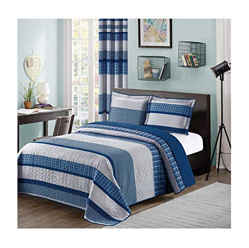 Blue and Gray Modern Plaid 3-Piece Queen Bedspread and Pillow Sham Set | Matching Curtains ()