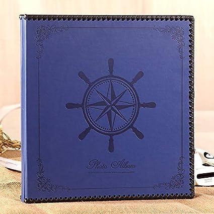 M&QSPS Lujo Cuero Vintage Grande Memoria Autoadhesiva Libro De Visitas, Regalo Para Recién Nacidos Día De San Valentín Regalo De Acción De Gracias De Navidad, 35 * 34.5 * 5 Cm (Azul)