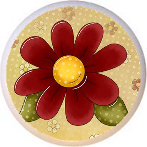 DESIGN #2 FLOWER - Peaceful Petals Country BC - DECORATIVE Glossy CERAMIC Drawer PULL Dresser KNOB (Petal Flower Design Knob)