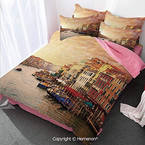 (Homenon Scenery Decor Girl's Room Cover Set Queen Size,Venezia Italian Decor Landscape with Old Houses Gondollas an,Decorative 3 Piece Bedding Set with 2 Pillow Shams Multicolor)
