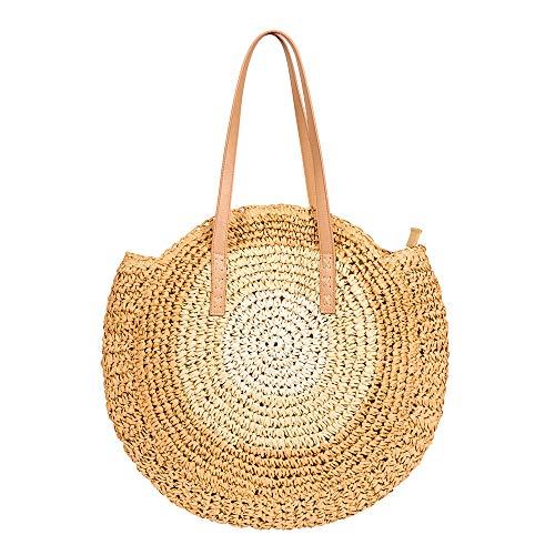 Handwoven Round Rattan Bag Crossbody Shoulder Leather Straps Boho Bamboo Handbag straw Beach Bag For Women with zipper (Beige cone)