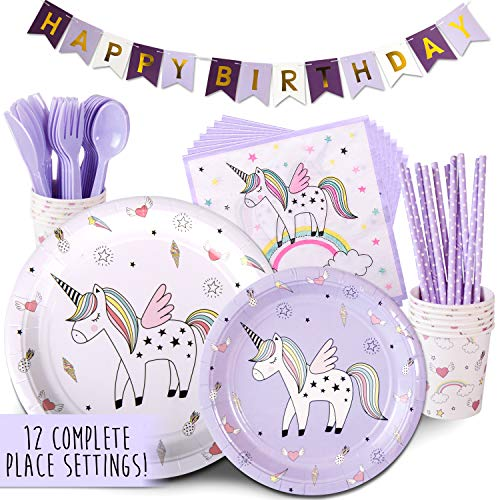 Childrens Unicorn Party Supply Pack, 96 Piece Set Rainbow of Party Supplies Plus Happy Birthday Banner, Purple, Serves 12