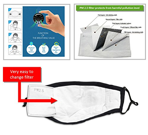 Pollution Mask Military Grade Anti Air Dust and Smoke Pollution Mask with Adjustable Straps and a Washable Respirator Mask Made For Men Women and Kids N99 N95 Mask by optipanel2d (Image #4)